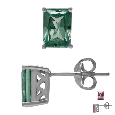 7x5MM Octagon Shape Simulated Color Change Alexandrite 925 Sterling Silver Stud/Post Earrings