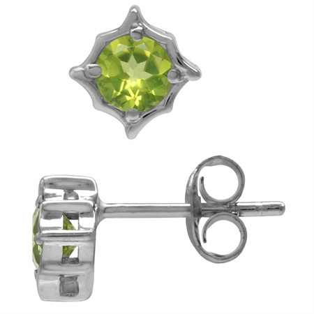 1.1ct. 5MM Natural Round Shape Peridot White Gold Plated 925 Sterling Silver Casual Stud Earrings