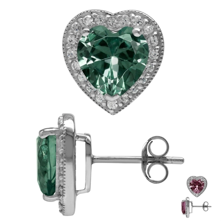8MM Heart Shape Simulated Color Change Alexandrite 925 Sterling Silver Halo Stud Earrings