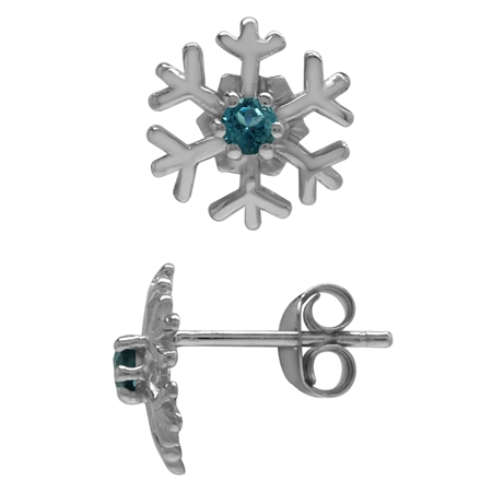 2.5MM Extra Petite Genuine Round Shape London Blue Topaz 925 Sterling Silver Snowflake Stud Earrings