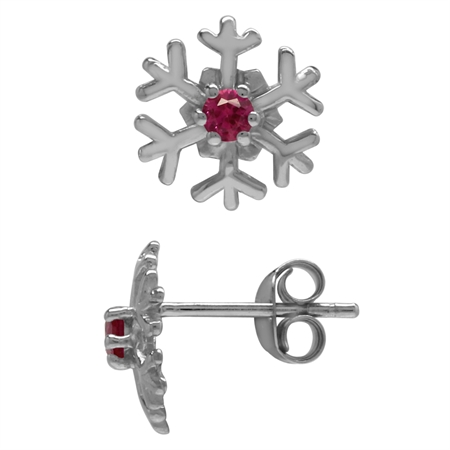 2.5MM Extra Petite Round Shape Simulated Red Ruby 925 Sterling Silver Snowflake Stud Earrings