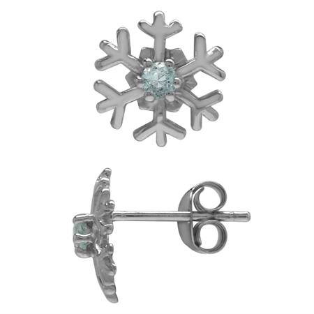 2.5MM Extra Petite Genuine Round Shape Blue Aquamarine 925 Sterling Silver Snowflake Stud Earrings