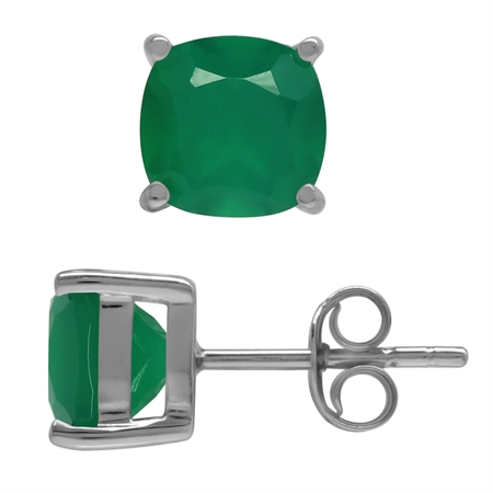 2.66ct. 7MM Natural Cushion Shape Emerald Green Agate 925 Sterling Silver Stud Earrings