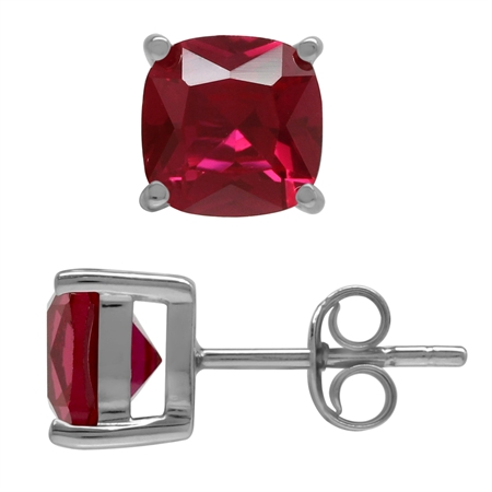 7MM Cushion Shape Simulated Red Ruby 925 Sterling Silver Stud Earrings