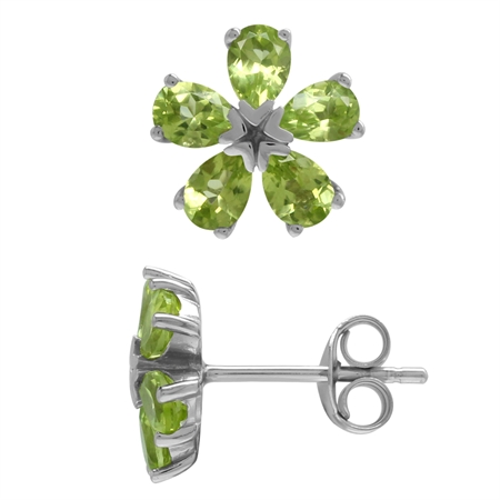 1.8ct. 5-Stone Natural Peridot White Gold Plated 925 Sterling Silver Flower Stud Earrings