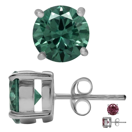8MM Round Shape Simulated Color Change Alexandrite 925 Sterling Silver Stud Earrings