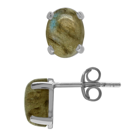 Natural Oval 8x6 MM Labradorite 925 Sterling Silver Stud Earrings