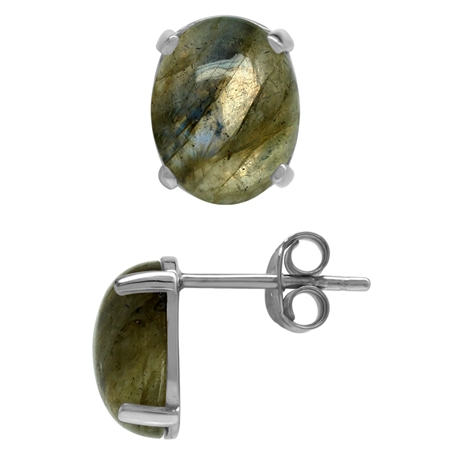 Natural Oval 10x8 MM Labradorite 925 Sterling Silver Stud Earrings