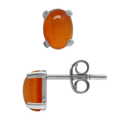 Genuine Oval 7x5 MM Carnelian 925 Sterling Silver Stud Earrings