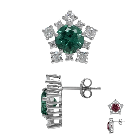 Created Color Change Alexandrite and CZ 925 Sterling Silver Snowflake Post Earrings