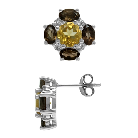 Citrine and Smoky Quartz 925 Sterling Silver Flower Post Earrings