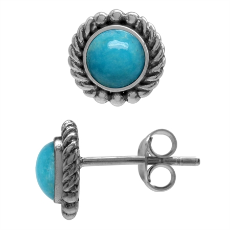 Genuine 5mm Blue ArizonaTurquoise 925 Sterling Silver Rope Stud Earrings