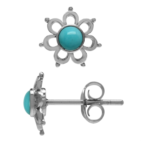Petite Genuine Arizona Turquoise 925 Sterling Silver Flower Stud Earrings