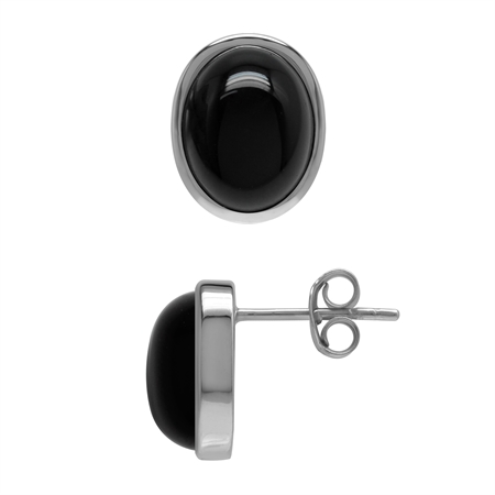 10x8 MM Natural Black Onyx 925 Sterling Silver Stud Post Earrings