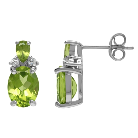 Natural 4.5 Ctw Oval 9x7 mm Peridot 925 Sterling Silver Post Stud Earrings