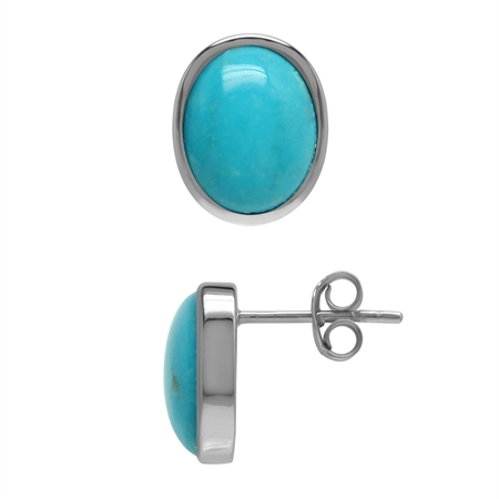 Genuine 4.3 Ctw Arizona Turquoise Oval 10x8 mm 925 Sterling Silver Stud Earrings