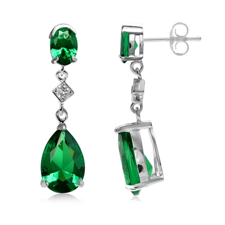 6.2 Ctw Pear Shape Nano Green Emerald 925 Sterling Silver Drop Dangle Post Earrings