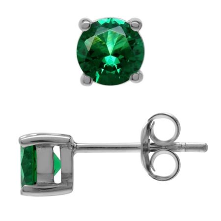 Round 5 mm Nano Green Emerald 925 Sterling Silver Stud Earrings