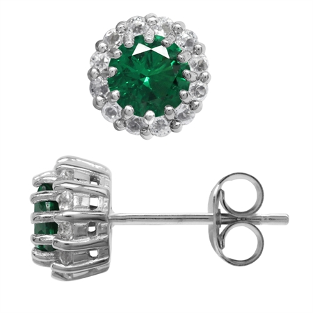 Round 5 mm Nano Green Emerald 925 Sterling Silver Cluster Post Stud Earrings
