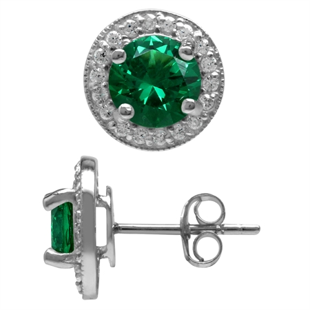 Round 7 mm Nano Green Emerald 925 Sterling Silver Halo Post Stud Earrings