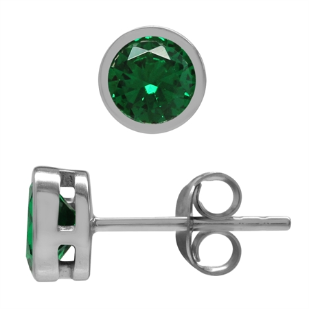 Petite 5 mm Round Nano Green Emerald 925 Sterling Silver Bezel Set Stud Earrings