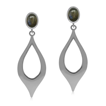 Natural Labradorite Stone 925 Sterling Silver Modern Drop Dangle Post Earrings