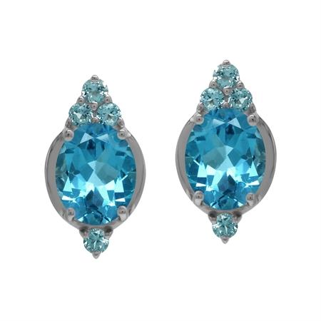Antique Style 6 Ctw Genuine Swiss Blue Topaz Gem 925 Sterling Silver Stud Post Earrings
