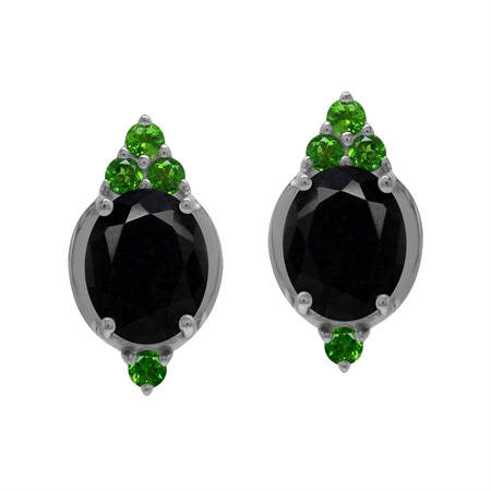 Antique Style 6 Ctw Genuine Black Sapphire and Chrome Diopside Gem 925 Sterling Silver Post Earrings