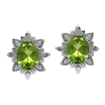Imperial Style 4 Ctw Natural Green Peridot Gem 925 Sterling Silver Stud Post Earrings
