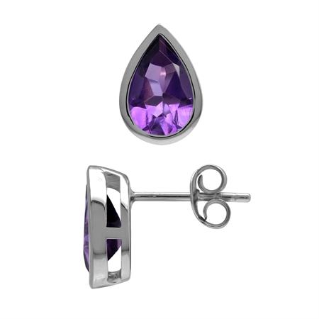 Genuine Pear Drop Shape 9x6 mm 2.3 ctw Purple African Amethyst 925 Sterling Silver Stud Earrings