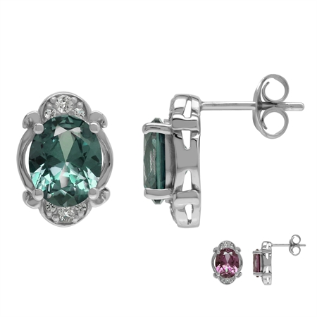 Created 4.4 Ctw Color Change Alexandrite Victorian Inspired 925 Sterling Silver Stud Post Earrings