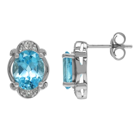 Genuine 4.4 Ctw Swiss Blue Topaz Victorian Inspired 925 Sterling Silver Stud Post Earrings
