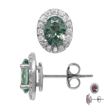 Created 1.8 Ctw Oval 7x5 mm Color Change Alexandrite 925 Sterling Silver Halo Stud Earrings