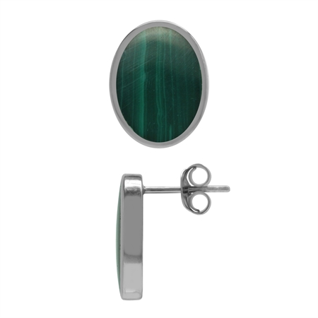 Created Oval 14x10 mm Inlay Green Malachite 925 Sterling Silver Stud Post Earrings