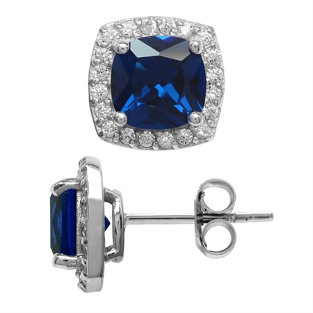 3.1 Ct 7MM Cushion Cut Synthetic Blue Sapphire 925 Sterling Silver Halo Stud Earrings