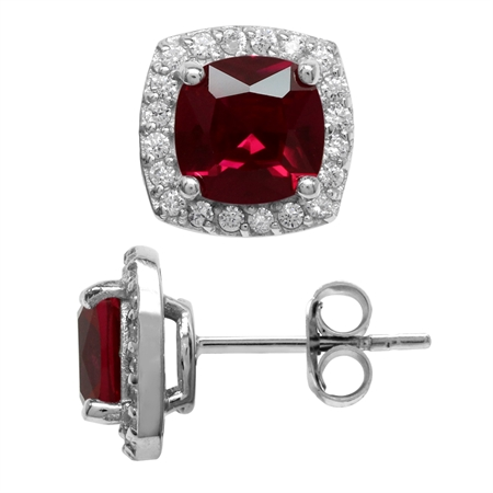 3.6 Ct 7MM Cushion Cut Synthetic Red Ruby 925 Sterling Silver Halo Stud Earrings