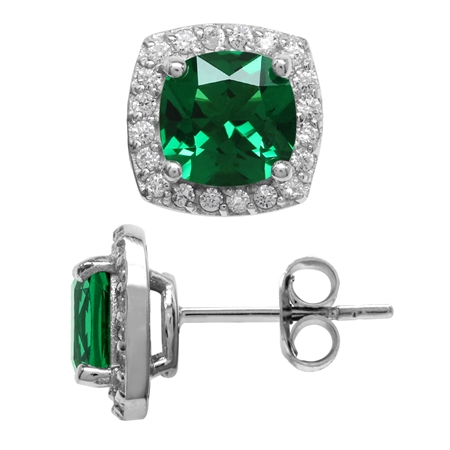 2.6 Ct 7MM Cushion Cut Nano Green Emerald 925 Sterling Silver Halo Stud Earrings
