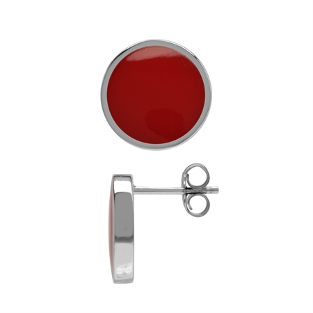 12 mm Created Red Coral Stone 925 Sterling Silver Round Inlay Stud Earrings