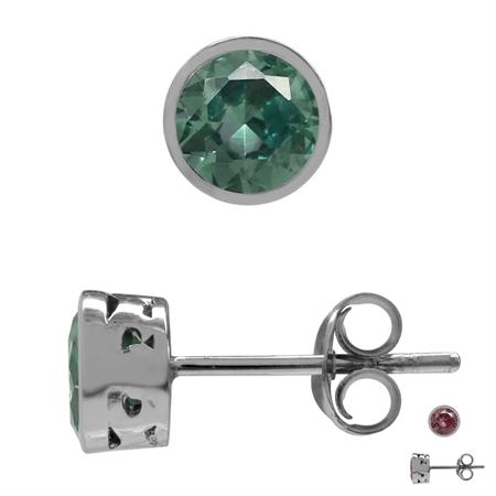 5MM Petite Created Color Change Alexandrite 925 Sterling Silver Filigree Stud Earrings