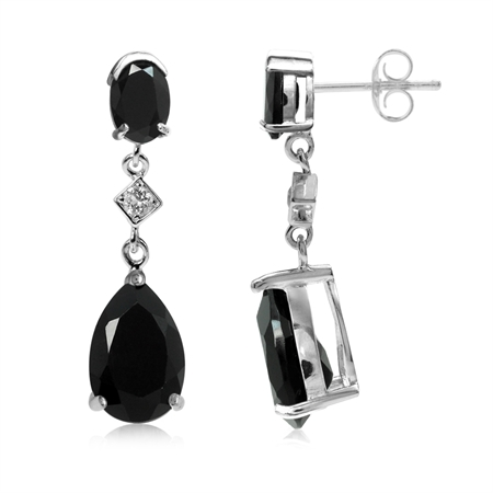7 Ct Black Onyx and White Topaz 925 Sterling Silver Drop Dangle Post Earrings