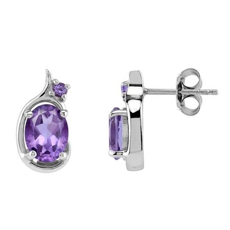 Oval 8x6 mm African Amethyst 925 Sterling Silver Art Neuveau Inpired Stud Earrings Jewelry for Women