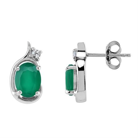 Emerald Green Agate Gemstone 925 Sterling Silver Art Neuveau Inpired Stud Earrings
