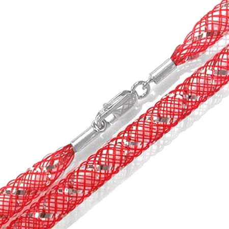 4MM Red Nylon Net Sterling Silver Necklace