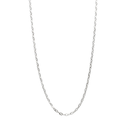 1.5MM Long Cable Hammered 925 Chain Sterling Silver Necklace 16-18 Inch.