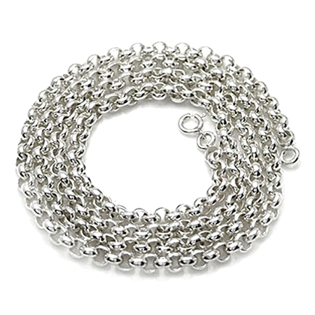 5MM Rollo Chain 925 Sterling Silver Necklace - 16-24 Inch.