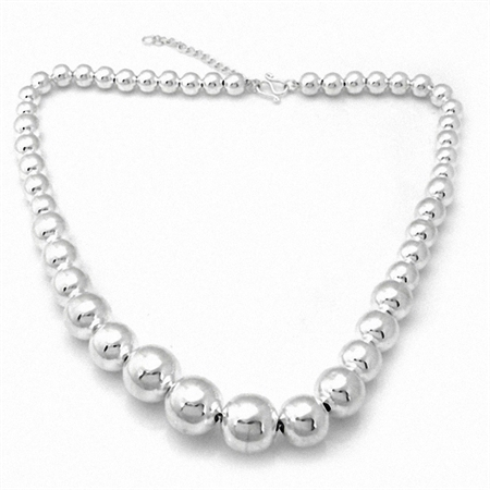 Graduated 16MM 925 Sterling Silver Bead Ball Necklace