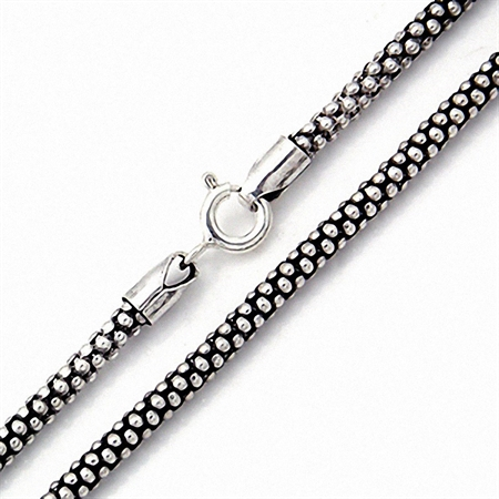 Oxidized 2.8MM 925 Sterling Silver Popcorn Chain Necklace 22 Inch