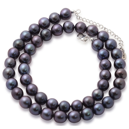 8MM Cultured Black Pearl 925 Sterling Silver 16-18 Inch Adjustable Necklace