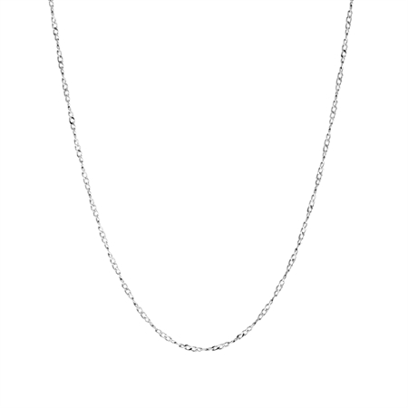 1MM White Gold Plated Sterling Silver French Rope Chain/Necklace 15-24 Inch.