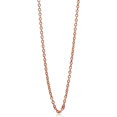0.8MM Rose Gold Plated 925 Sterling Silver Single Cable Chain Necklace - 16-18 Inch